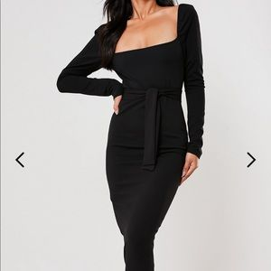 BLACK PUFFED SLEEVE BELTED MIDI DRESS
